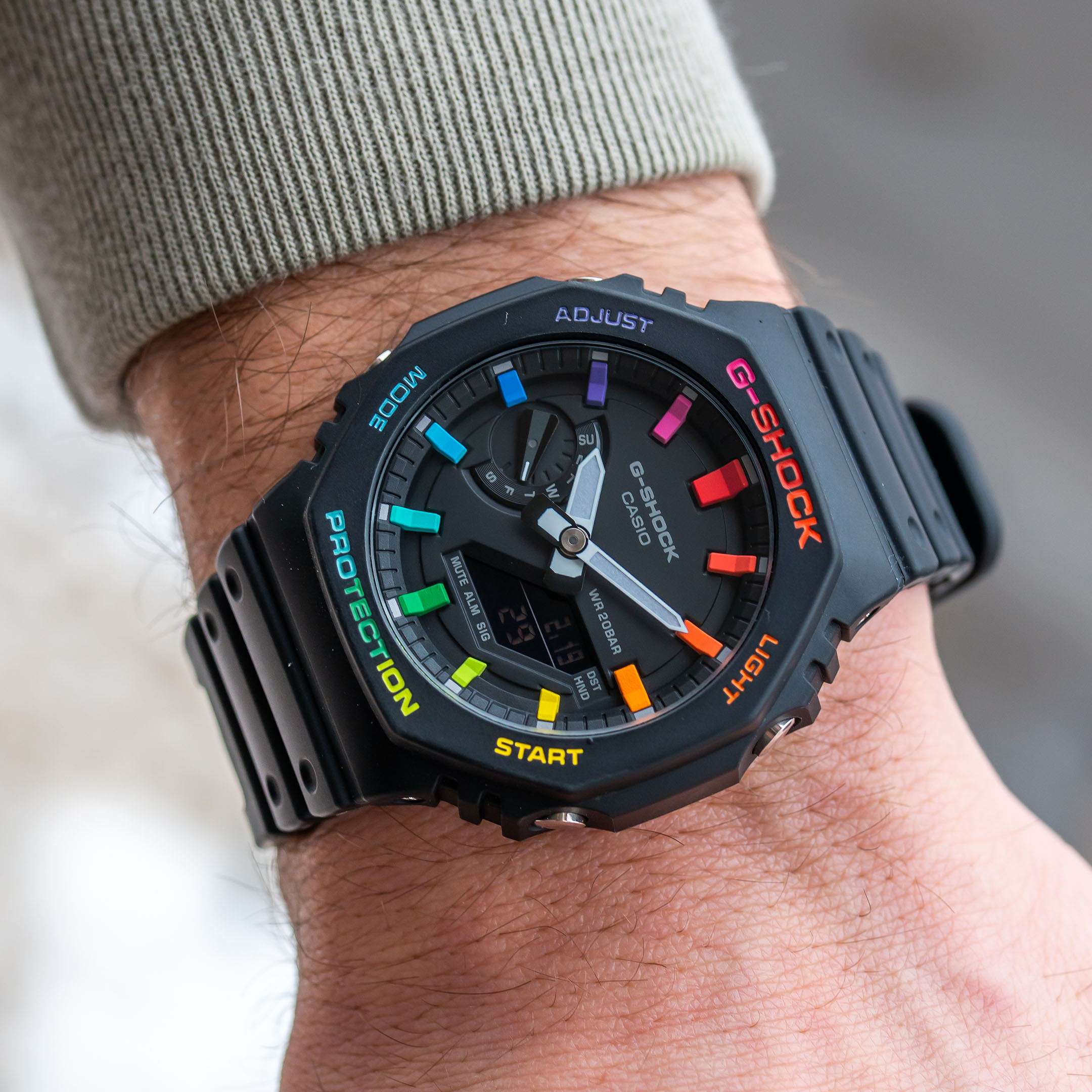 Custom Casio G-Shock 'CasiOak' Black Rainbow Hand-painted IFLW x The Dial Artist Collaboration
