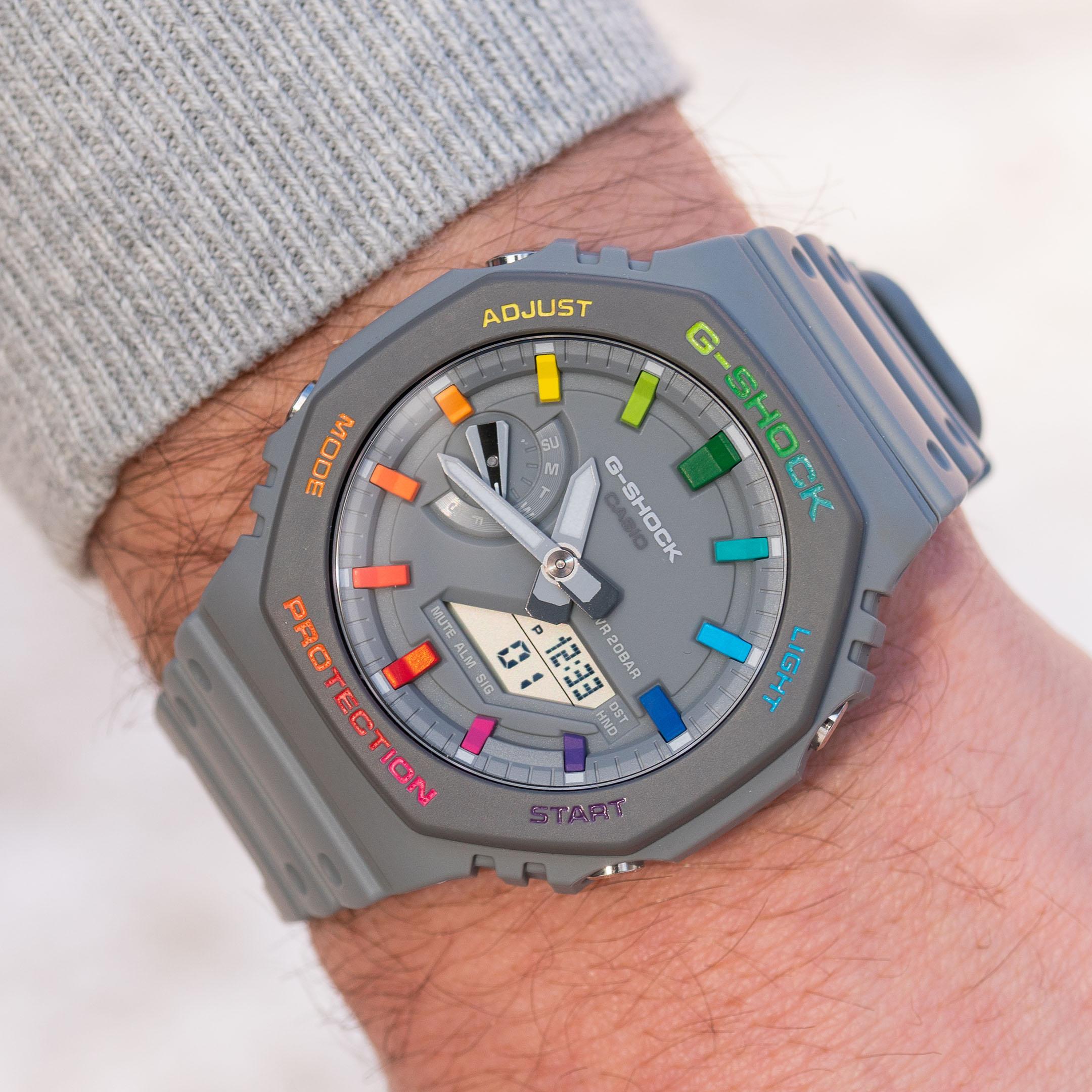 Custom Casio G-Shock 'CasiOak' Grey Rainbow Hand-painted IFLW x The Dial Artist Collaboration