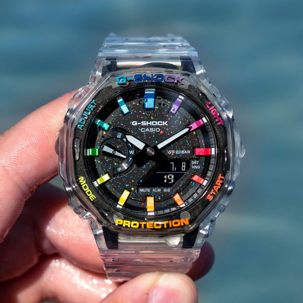 IFLW G-Shock GA-2100SKE-7AER CasiOak Crystal Jellyfish Limited Edition watch hand-painted by the Dial Artist wet from water