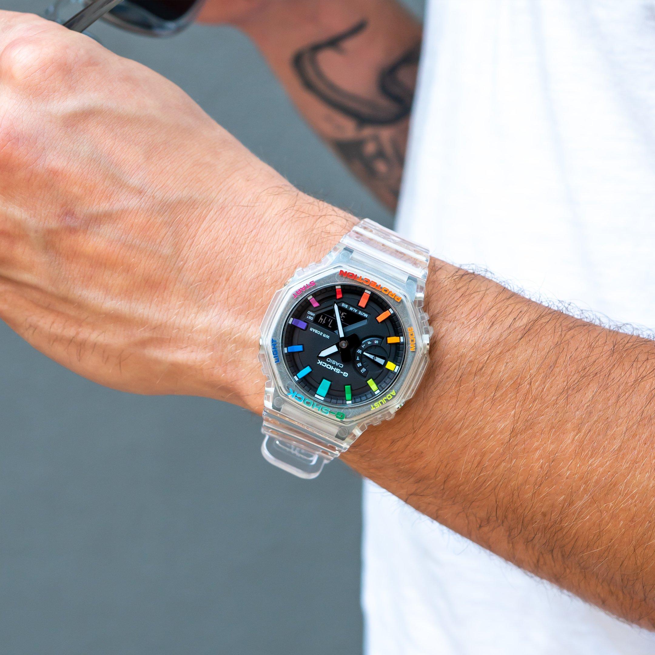 IFLW G-Shock GA-2100SKE-7AER CasiOak Jellyfish Rainbow watch hand-painted by the Dial Artist